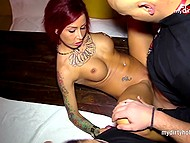 Gangbang video featuring tattooed German whore getting surrounded by turned on admirers