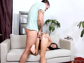 Ass of sweet twin-tailed brunette is nicely analyzed by skillful partner in various ways