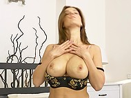 Luxurious MILF with juicy boobs came in bedroom to play solo with trimmed twat 4