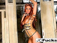 Sexy woman Jayden Cole with red hair satisfies smooth pussy with fingers in messy restroom 6