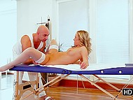 Gentle touches from bald masseur make client eager to open pussy for his tongue 8
