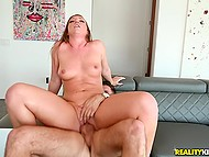 Slutty surveyor Maddy Oreilly successfully seduces married respondent for amazing sex on couch  4