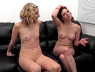 Girls with pretty faces masturbate each other's pussy before one of them sucks cameraman's cock 11