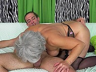 Old woman shaved cunt and wore black stockings to tempt young stallion into fucking 7
