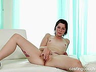 Female with small boobies has to masturbate on camera just like she does in bed when no one sees her 10