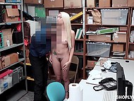 Surveillance camera captured blonde stealing so now she has to give blowjob to security guard 8