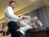 Young wench gives interview then plays stepdaughter who is assfucked by tough man