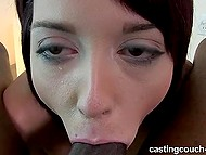 Chick with tattooed hand comes to porn casting and takes big black penis in mouth 5