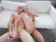 Bald stallion fucks small-tittied chick properly and sprinkles sperm over her face 6