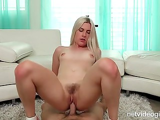 Pretty blonde swaps cum with lovely partner after riding agent's dick at audition