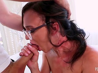 Bashful chick with glasses takes clothes off and is ready to give man deepthroat blowjob