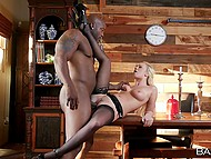 Muscular Ebony guy stretches classy girlfriend Bailey Brooke on table in dining-room