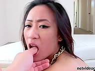 Guy fucks Asian girl with massive gold chain around neck and soon cameragirl joins them 6