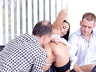 Businessmen want maid but she doesn't mind sex with two solid gentlemen simultaneously 6