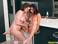 Naughty girlfriends Melissa Moore and Mary Moody caress trimmed pussies in kitchen 5