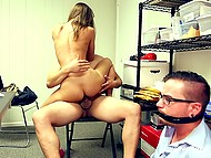 Slutty chick sucks and rides joystick of athletic stranger next to her tied boyfriend