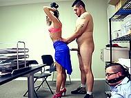 Slutty chick sucks and rides joystick of athletic stranger next to her tied boyfriend 6