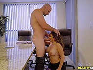 Jock wanted to masturbate in toilet but big-boobied MILF caught him and made bonk her