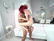 Bearded giant easily lifts red-haired babe up and puts her pussy around long weapon 10