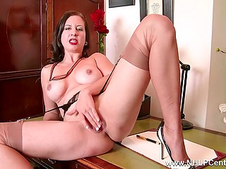 Vicious secretary has no paperwork, so she spreads legs on table and masturbates in office