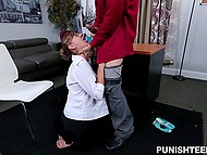 Hot secretary is haunted by boss accosting her so girl has no other way but to hook up with head 9