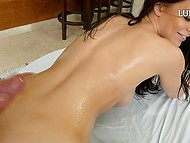 Lube slides over lovely's skin and helps her tender lips to roll over thumping cock 8