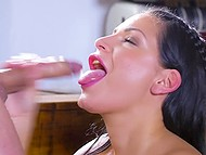 Femme fatale broke antique vase so she had to calm down shop owner through anal sex 11