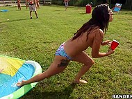 Outdoor party becomes dirtier as excited teens started to demonstrate perky tits and round asses 6