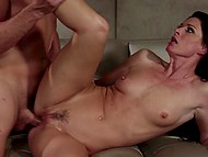 Skinny MILF found a perfect way to compromise hard-to-get subordinate and get sex from him