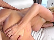 Bearded man throws a leg to big-boobied MILF with blonde hair in front of her husband 10