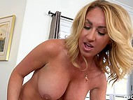 Bearded man throws a leg to big-boobied MILF with blonde hair in front of her husband 4