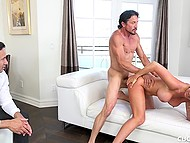 Bearded man throws a leg to big-boobied MILF with blonde hair in front of her husband 8