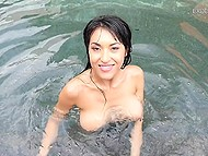 Asian sexpot lubes her curvy shapes after splashing in pool and goes to suck long fuckstick 4