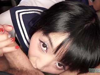 Japanese Marica Hase in college uniform obediently takes cameraguy's cock in tender muff