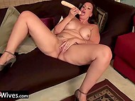 Mature housewives compensate absence of husbands by playing solo with sex toys