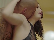 Slim beauty in stockings and bald inamorato passionately make love by window 9