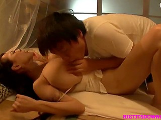 Boy breaks into bedroom of buxom Japanese stepmother to taste her sweet goodies