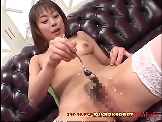 Teen housemaid from Japan likes the taste of cum and works hard to get some