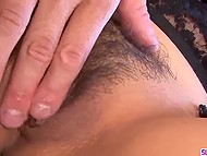 Male regards lace lingerie on body of busty Japanese gf as invitation in hairy pussy 4