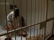Japanese prisoner pours water over mattress, so second cellmate forces her to lick vagina 4