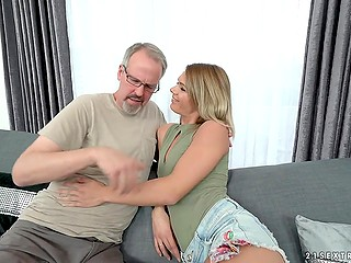 Pretty young girl is attracted to old men and she doesn't lose chance to be fucked by this mate