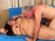 Mature man hopes to get a kiss from BBW but she presents her big body at his disposal 9