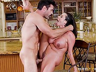Latina MILF Ariella Ferrera with sizable baps sucks cock under table and mustached man fucks her when her husband leaves