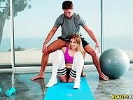 Active stretching made natural girl Giselle Palmer eager to taste personal trainer's cock 3