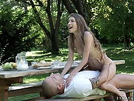 Skinny girl Rebel Lynn and boyfriend have outdoor breakfast when passion fills them