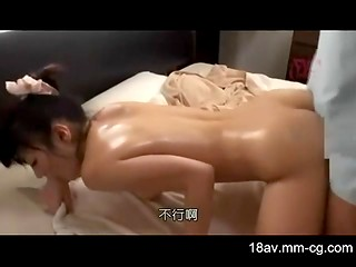 Asian oiled cutie gets screwed in massage parlor