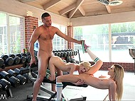 Fitness instructor fucks stepsisters with skinny bodies and it is very hot in gym