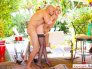 There is holiday in boyfriend's country and blonde in stockings congratulates him by fucking