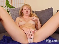 Shy blonde slowly takes all clothes off and starts to touch snatch with small vibrator 6