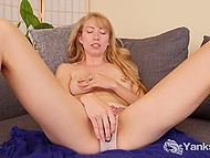 Shy blonde slowly takes all clothes off and starts to touch snatch with small vibrator 7